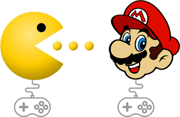 Controlling classic video game characters Mario and Pacman