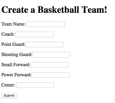 form for basketball team