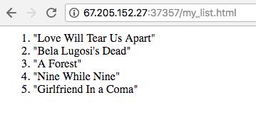 List displayed as ordered list