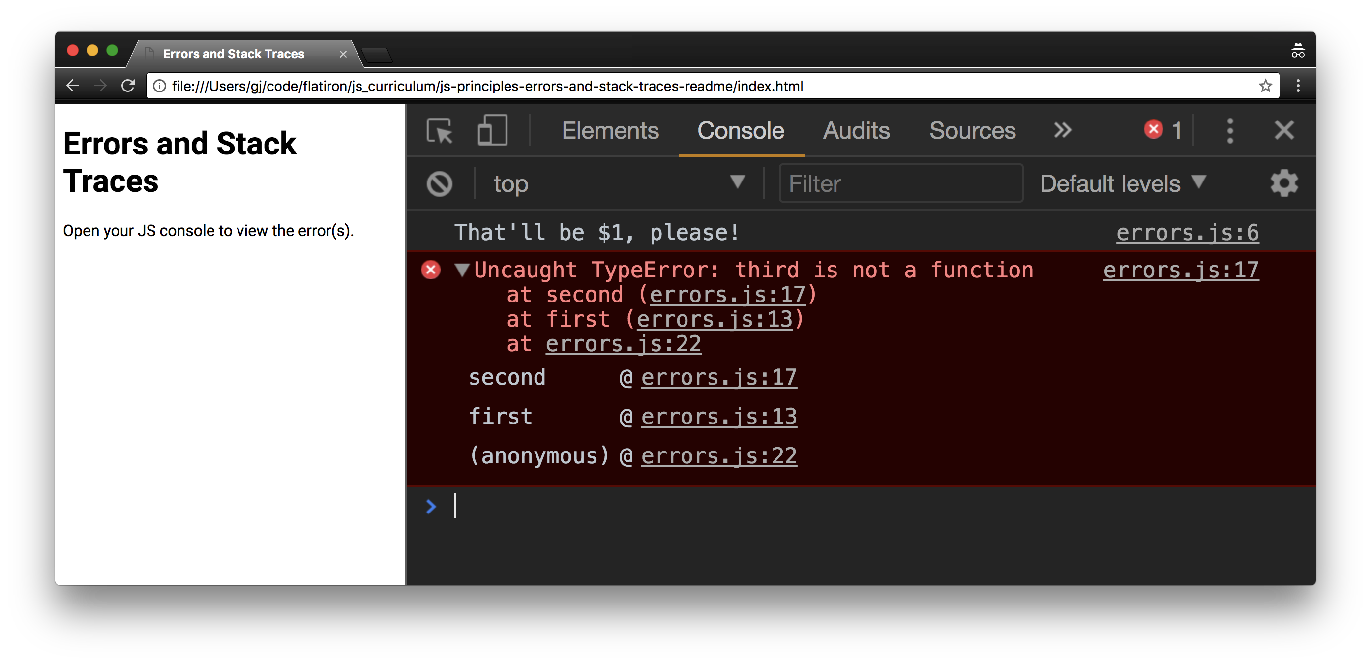 `third is not a function`